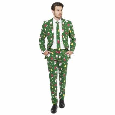 Compleet pak kerst print groen