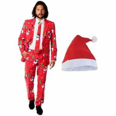 Heren opposuits kerst pak rood kerstmuts maat (l)