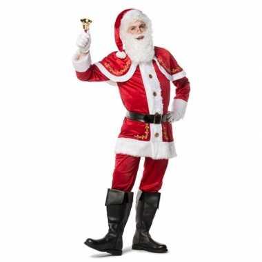 Luxe fluwelen kerstmannen pak