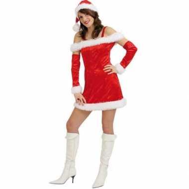 Rood fluwelen kerstjurkje vrouwen