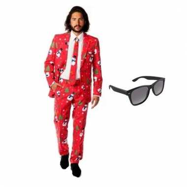 Verkleed kerst print pak maat (xl) gratis zonnebril